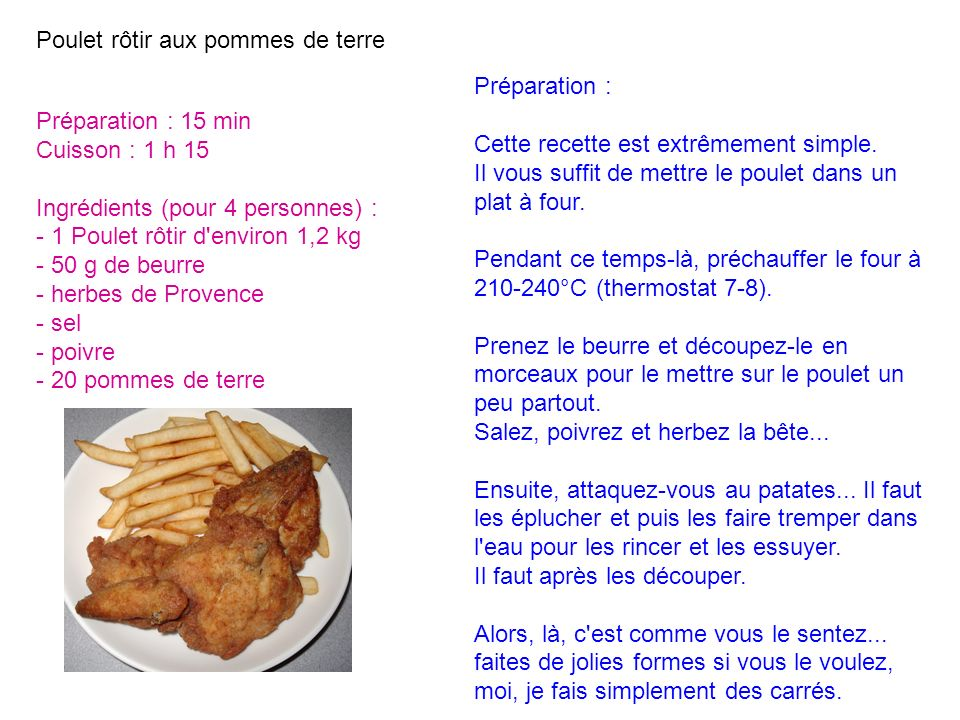 Poulet rôtir aux pommes de terre