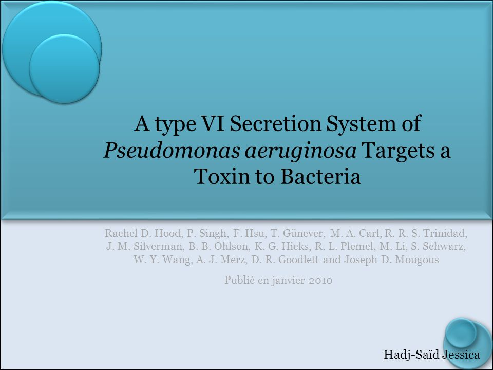 A type VI Secretion System of Pseudomonas aeruginosa Targets a Toxin to Bacteria