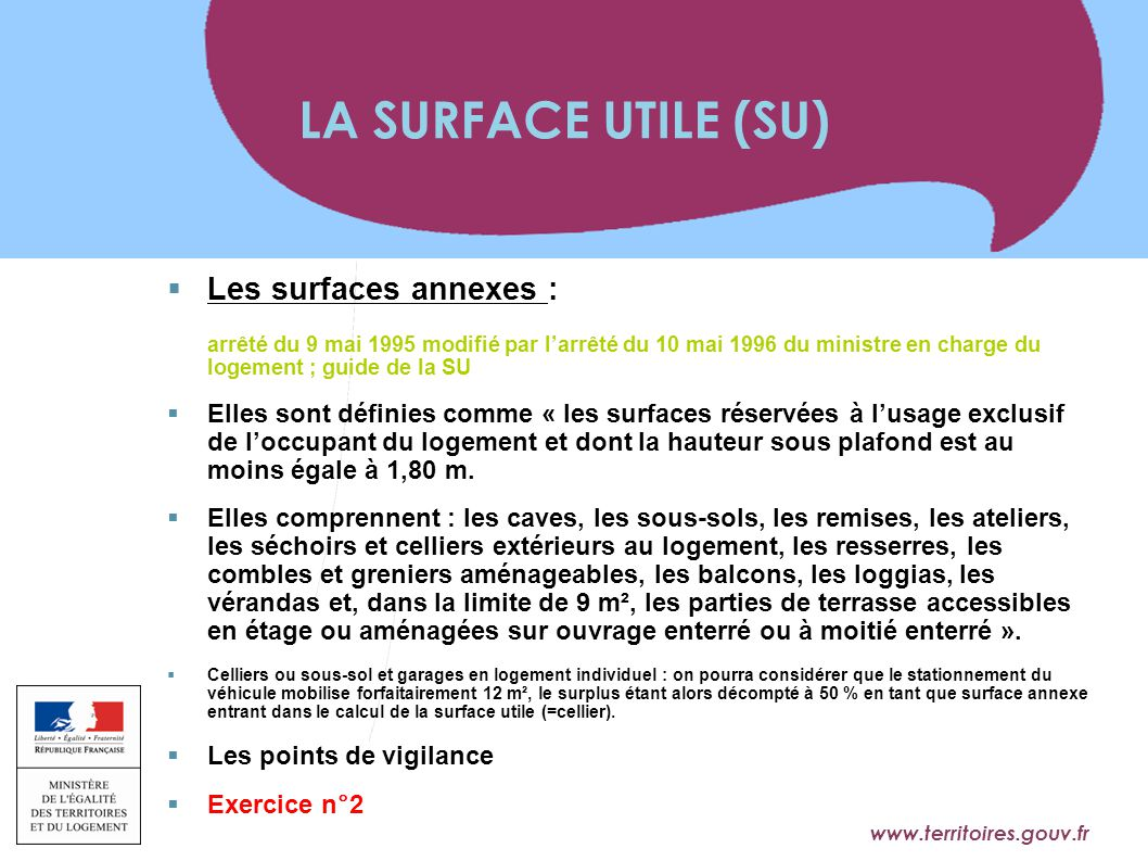 LA SURFACE UTILE (SU) Les surfaces annexes :