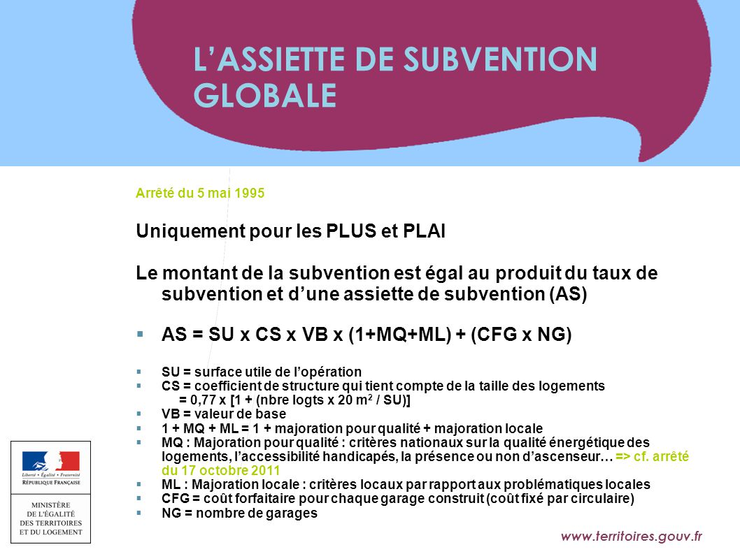 L'ASSIETTE DE SUBVENTION GLOBALE