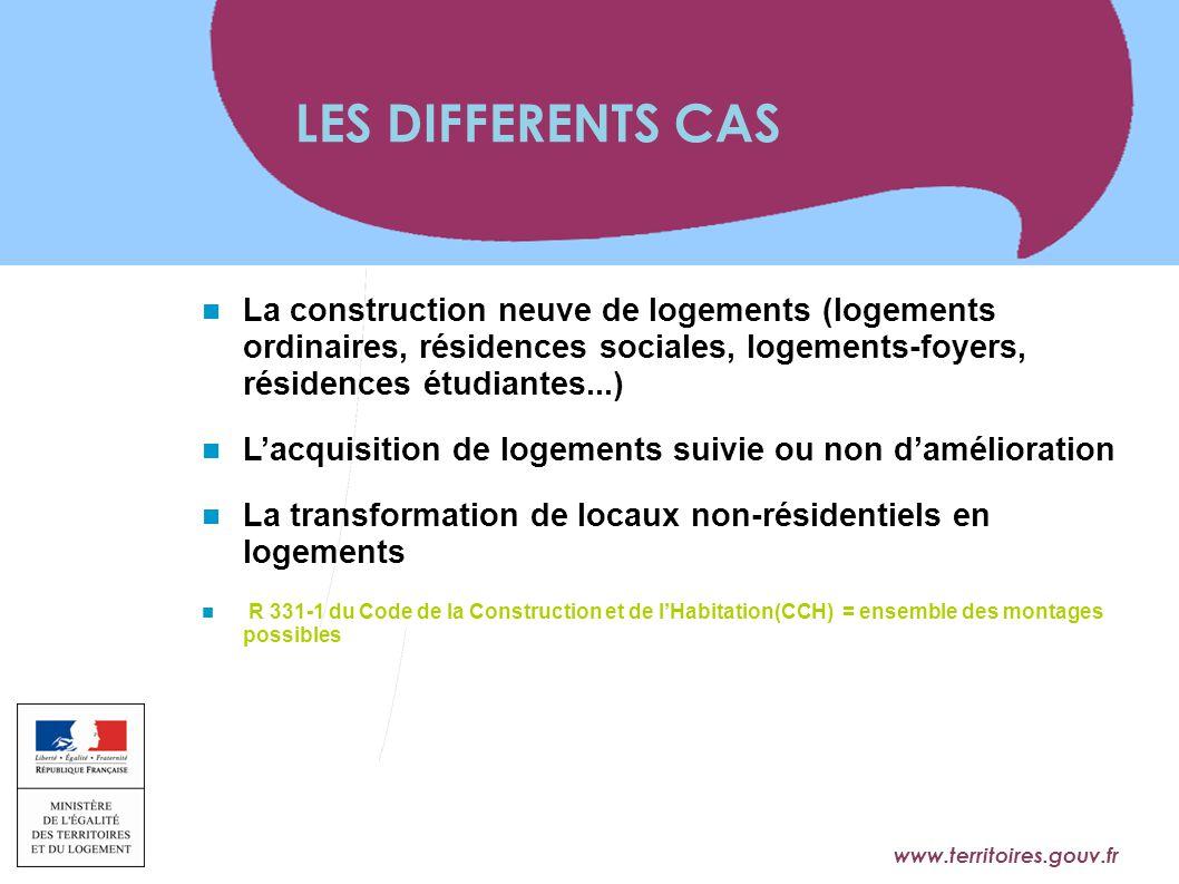 LES DIFFERENTS CAS La construction neuve de logements (logements ordinaires, résidences sociales, logements-foyers, résidences étudiantes...)