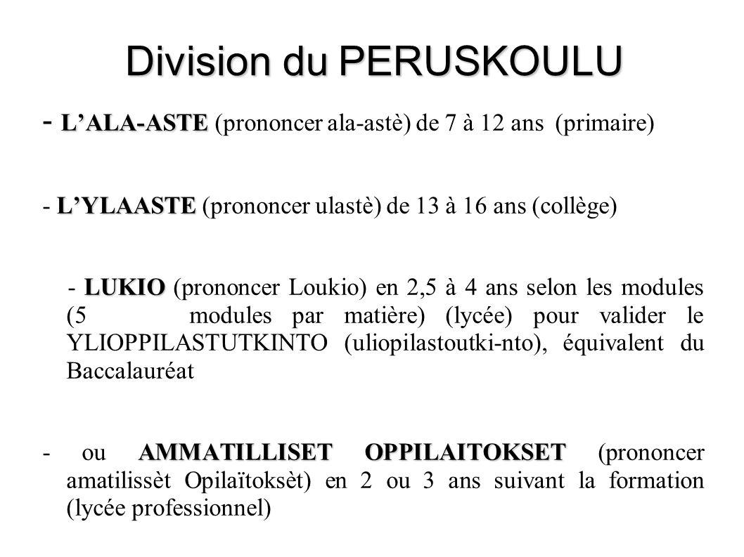 Division du PERUSKOULU