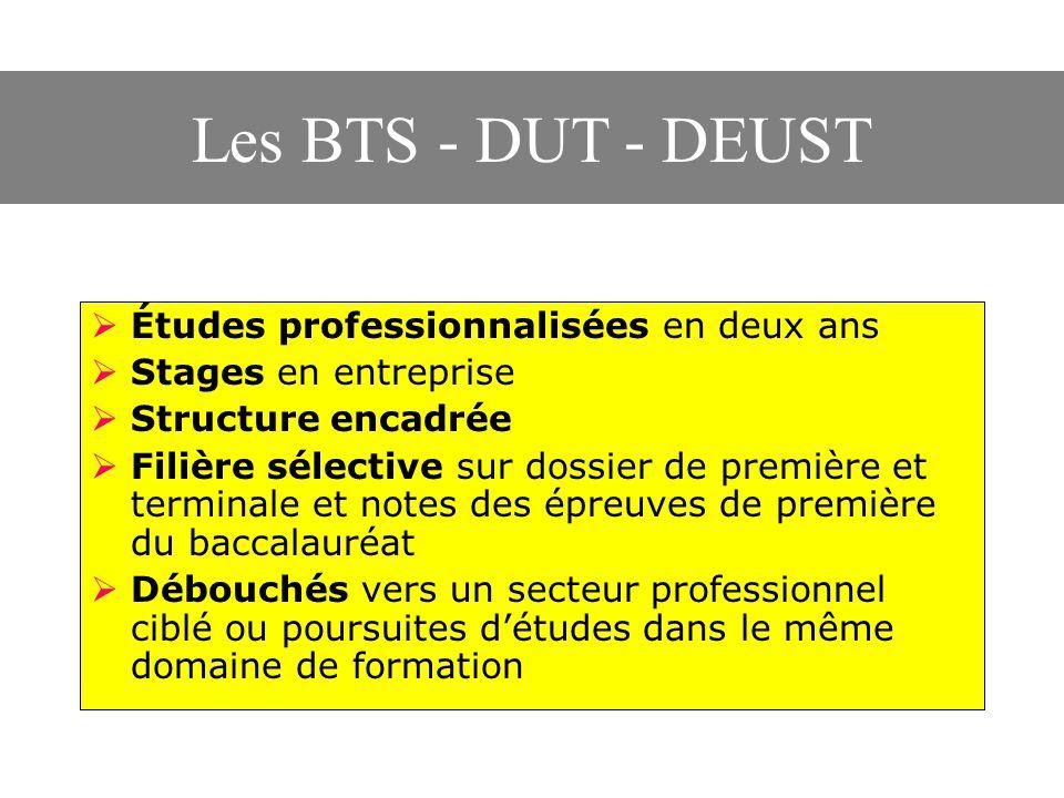 Les BTS - DUT - DEUST Études professionnalisées en deux ans