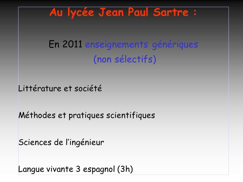 Au lycée Jean Paul Sartre :