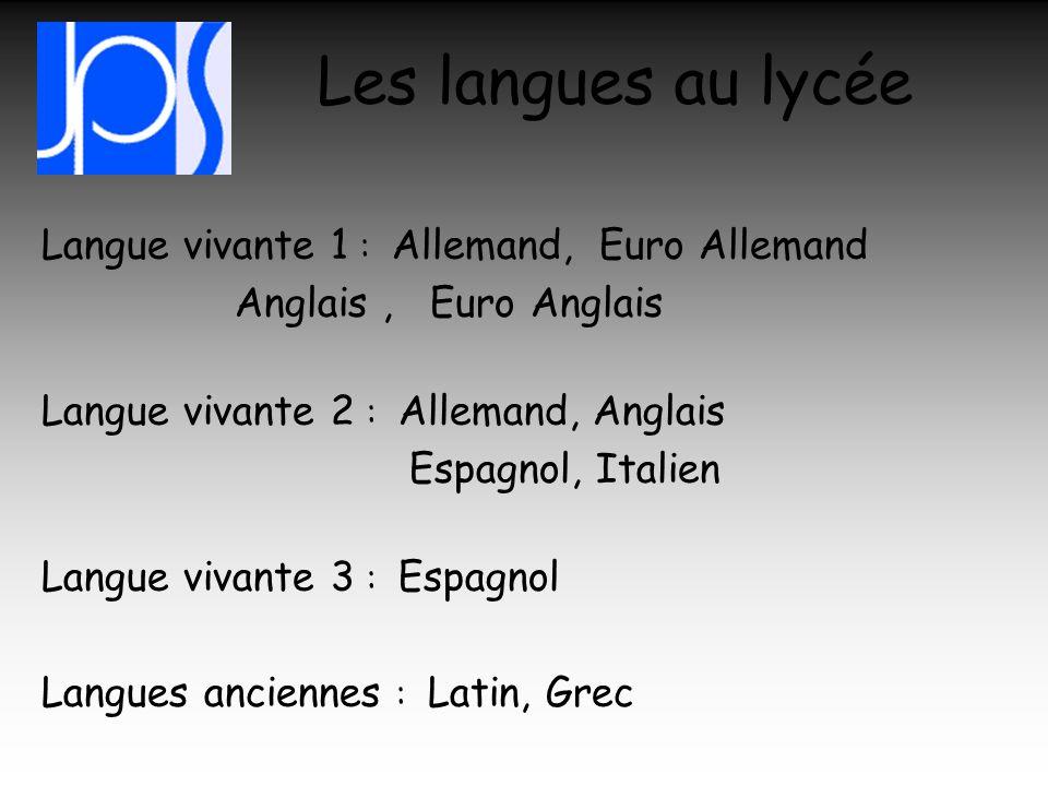 Les langues au lycée Anglais , Euro Anglais Espagnol, Italien