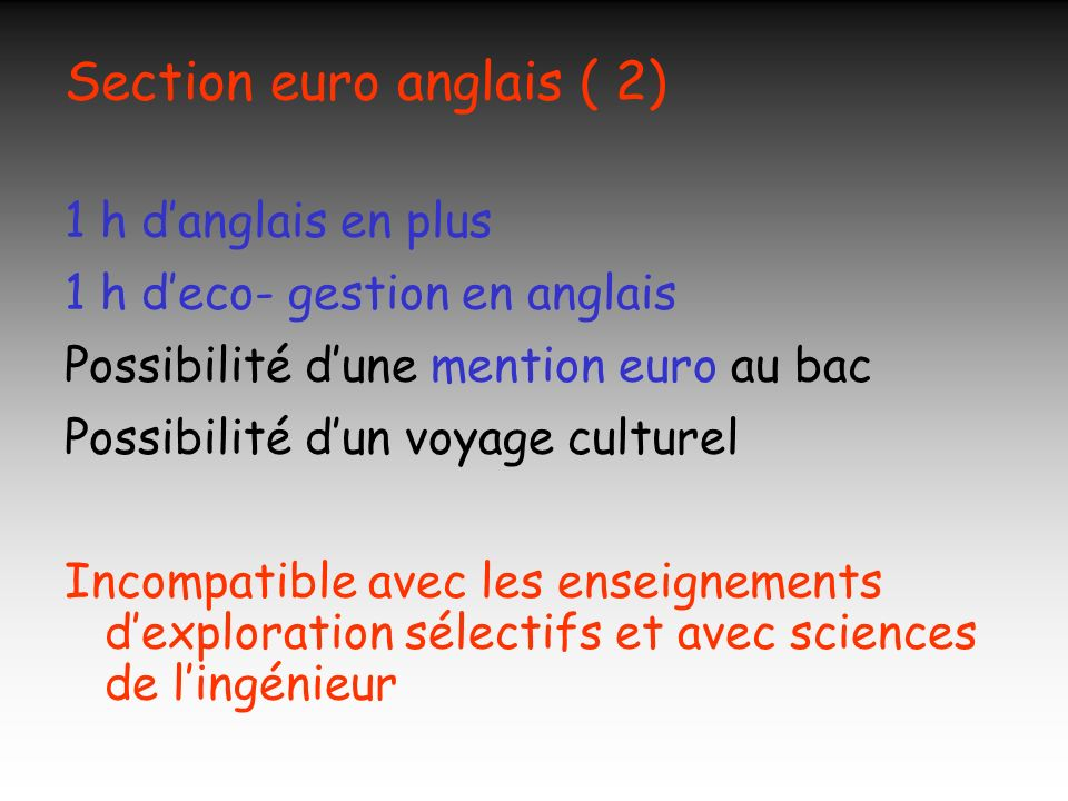 Section euro anglais ( 2)