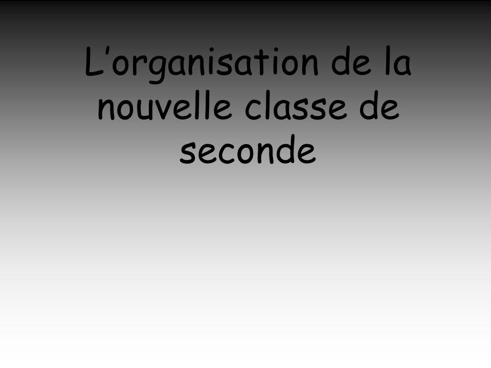 L'organisation de la nouvelle classe de seconde