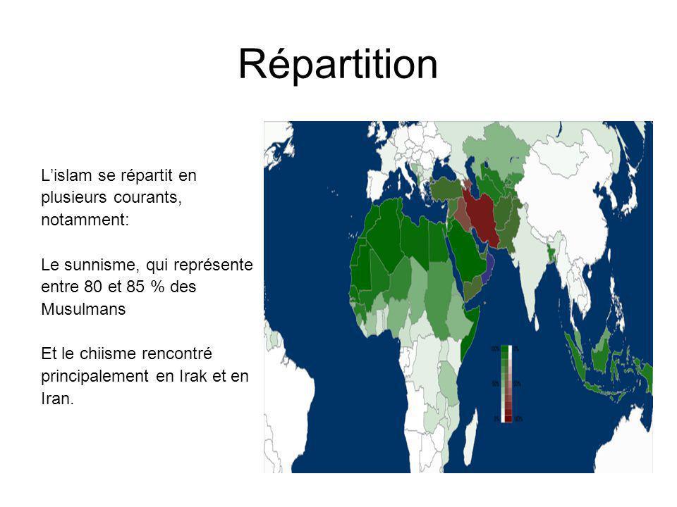 Répartition L'islam se répartit en plusieurs courants, notamment:
