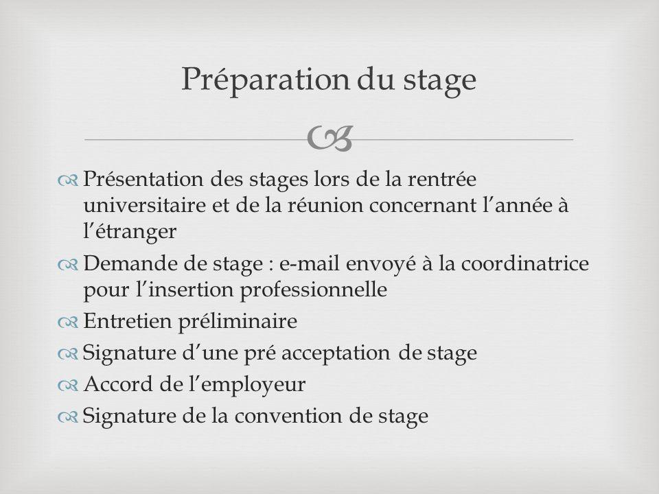 Préparation du stage Présentation des stages lors de la rentrée universitaire et de la réunion concernant l'année à l'étranger.
