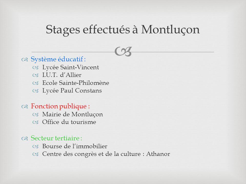 Stages effectués à Montluçon