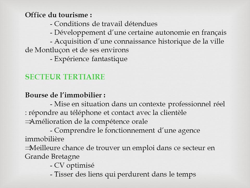 SECTEUR TERTIAIRE Office du tourisme :