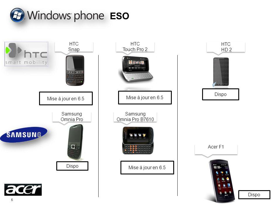ESO HTC Snap HTC Touch Pro 2 HTC HD 2 Dispo Mise à jour en 6.5