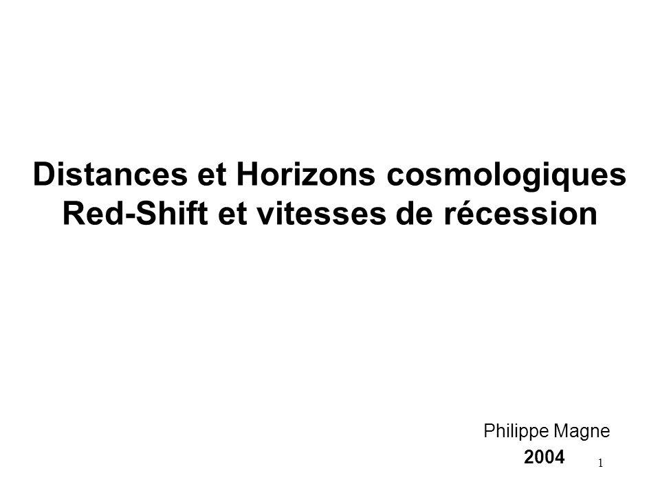 Distances et Horizons cosmologiques Red-Shift et vitesses de récession