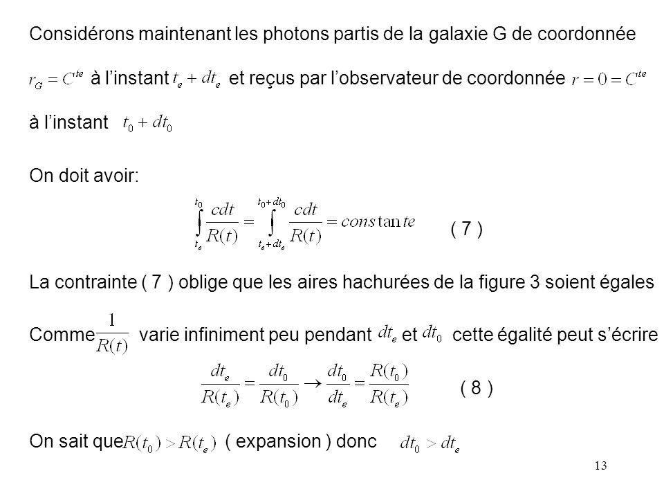 Considérons maintenant les photons partis de la galaxie G de coordonnée à l'instant et reçus par l'observateur de coordonnée à l'instant