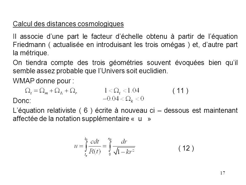 Calcul des distances cosmologiques