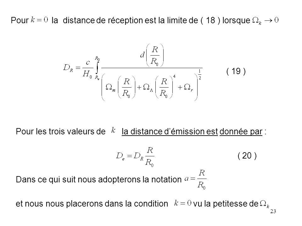 Pour la distance de réception est la limite de ( 18 ) lorsque