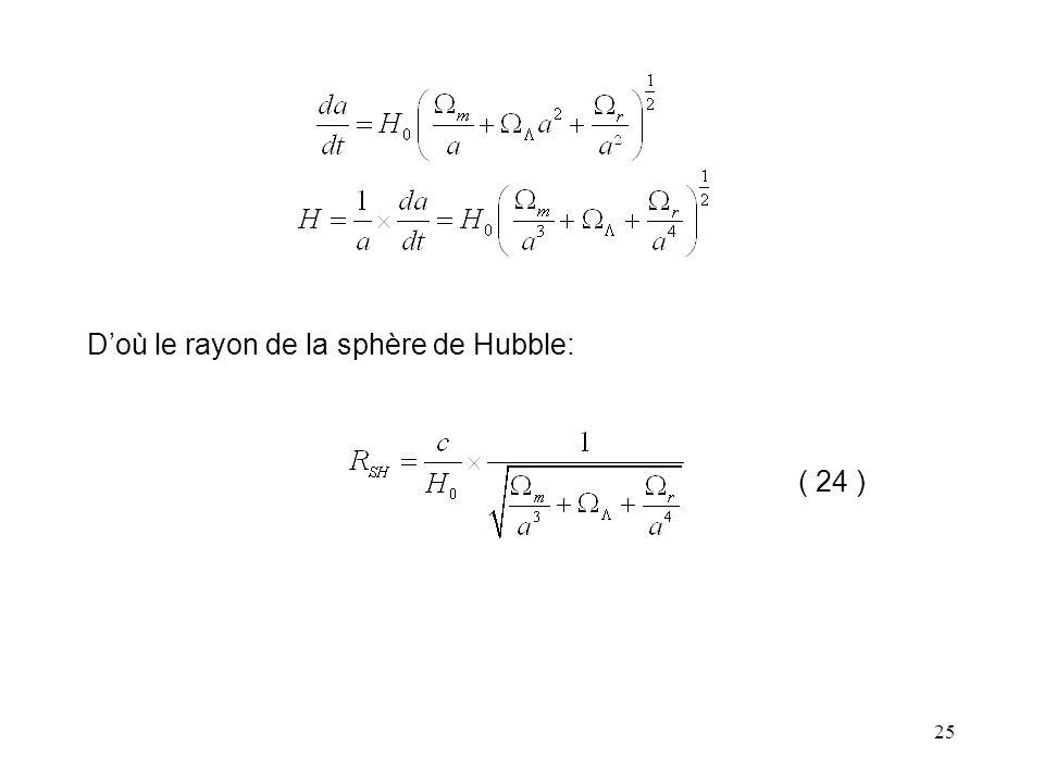 D'où le rayon de la sphère de Hubble: