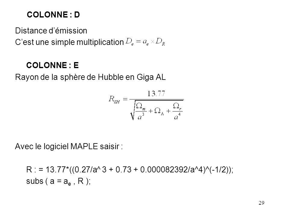 COLONNE : D Distance d'émission. C'est une simple multiplication. COLONNE : E. Rayon de la sphère de Hubble en Giga AL.