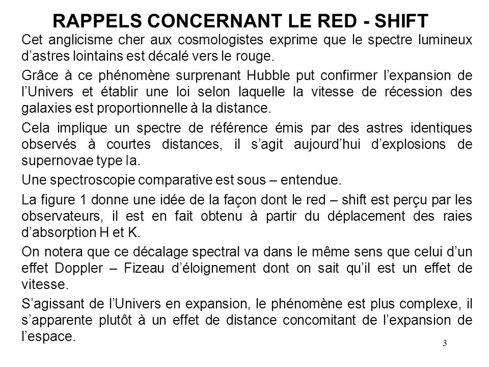 RAPPELS CONCERNANT LE RED - SHIFT