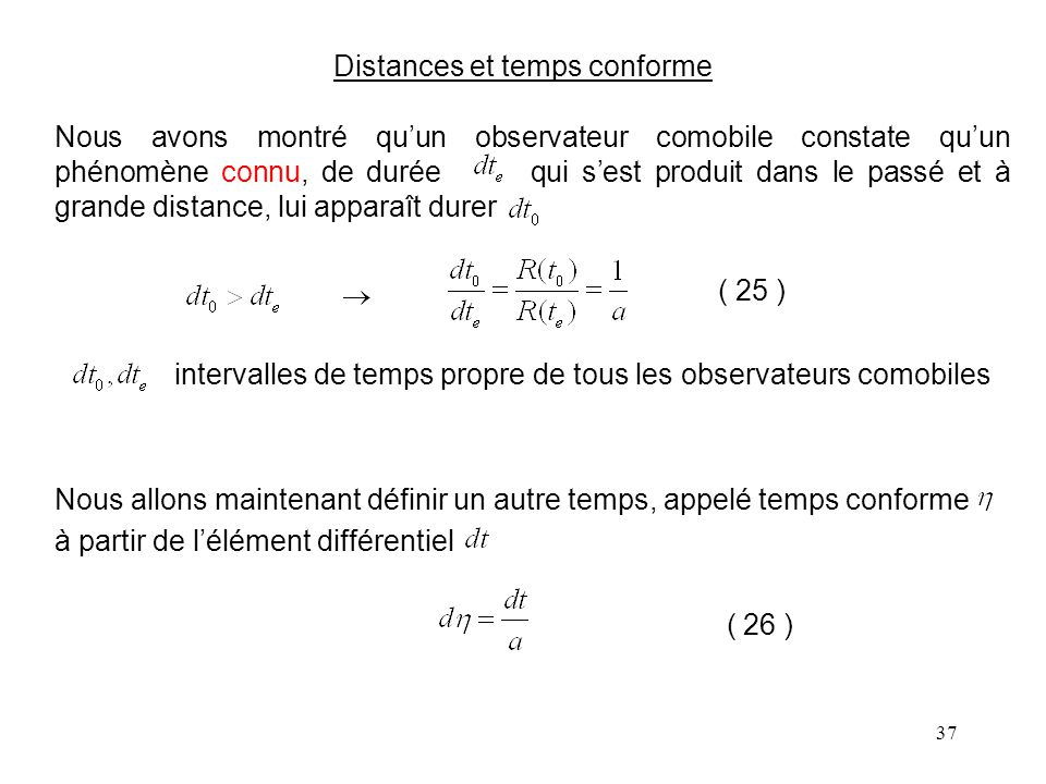 Distances et temps conforme