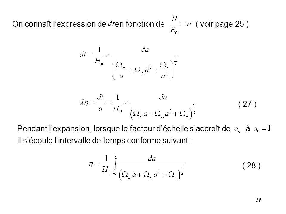 On connaît l'expression de en fonction de ( voir page 25 )