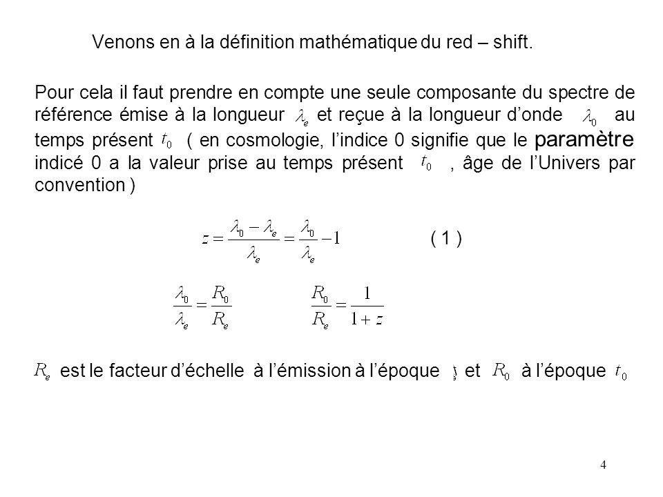Venons en à la définition mathématique du red – shift.