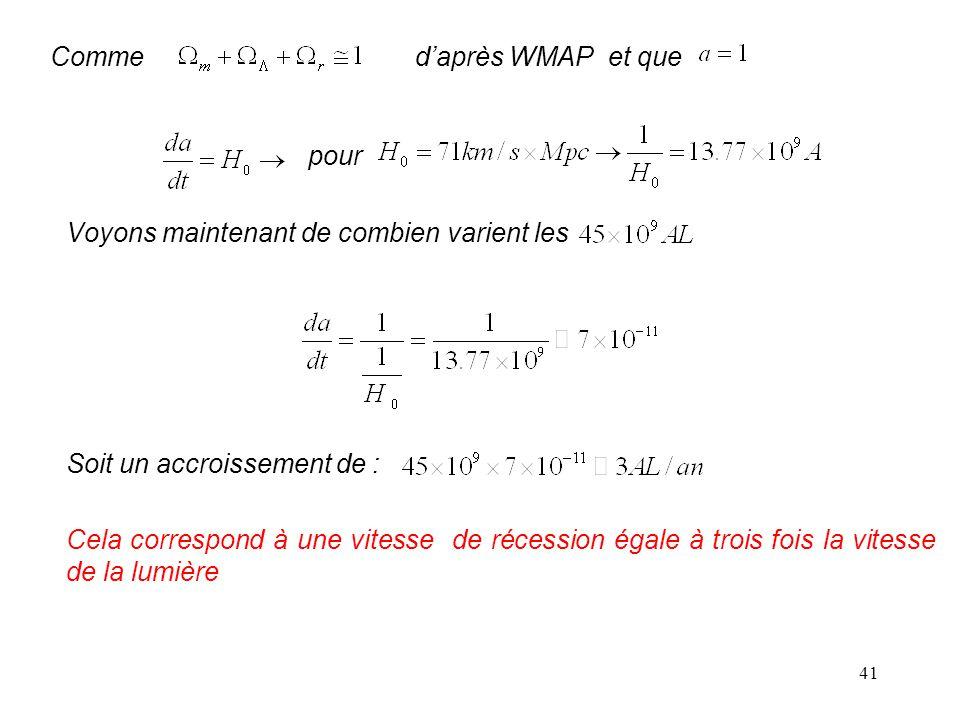 Comme d'après WMAP et que