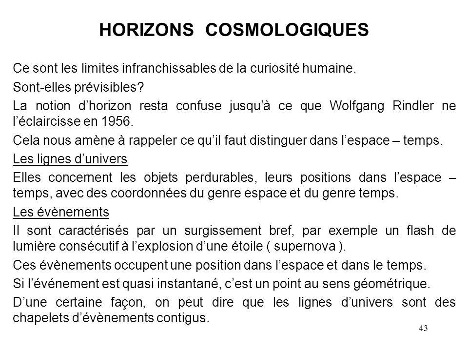 HORIZONS COSMOLOGIQUES