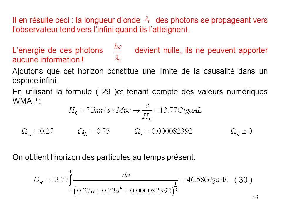 Il en résulte ceci : la longueur d'onde des photons se propageant vers l'observateur tend vers l'infini quand ils l'atteignent.