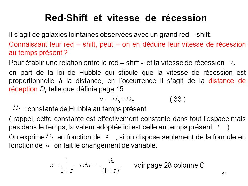 Red-Shift et vitesse de récession