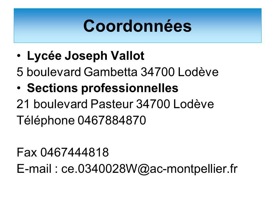 Coordonnées Lycée Joseph Vallot 5 boulevard Gambetta 34700 Lodève
