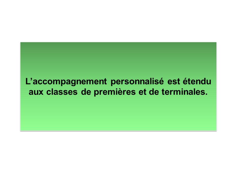 L'accompagnement personnalisé est étendu aux classes de premières et de terminales.
