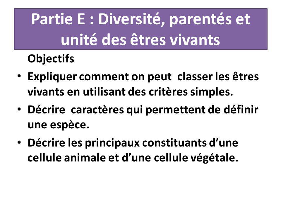 Partie E : Diversité, parentés et unité des êtres vivants