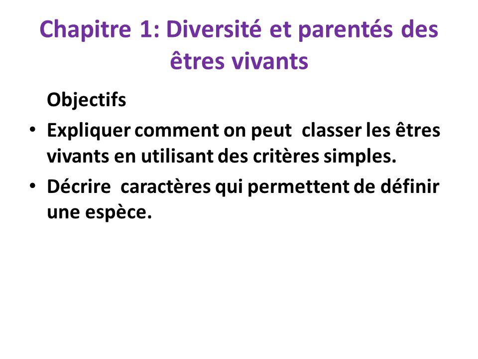 Chapitre 1: Diversité et parentés des êtres vivants