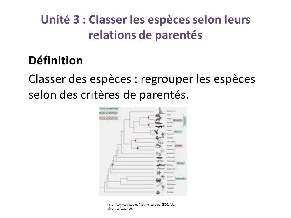 Unité 3 : Classer les espèces selon leurs relations de parentés