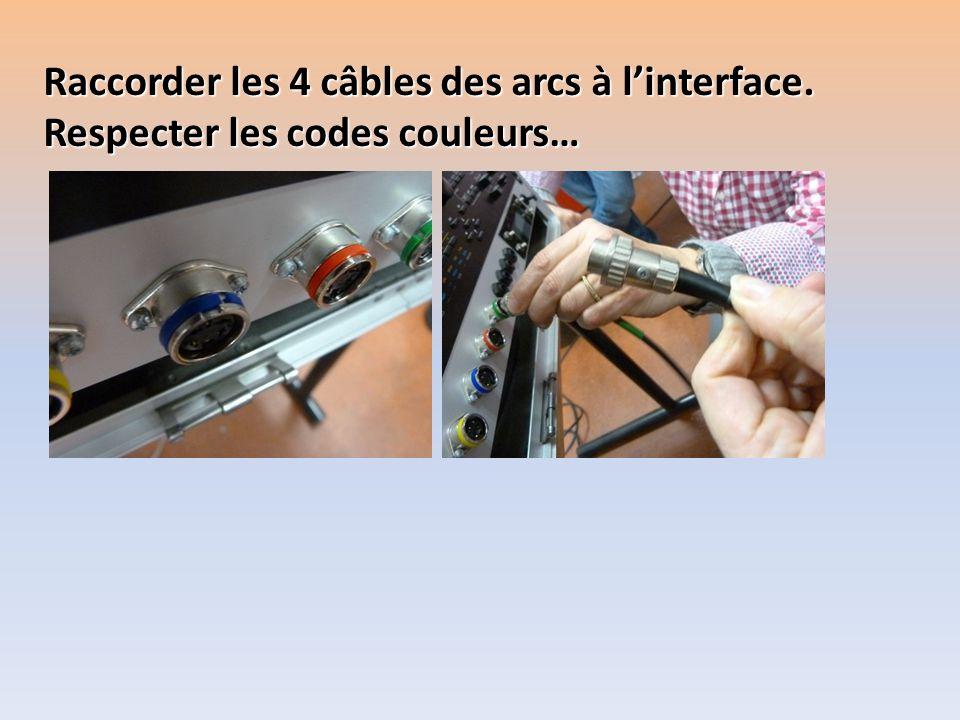 Raccorder les 4 câbles des arcs à l'interface.