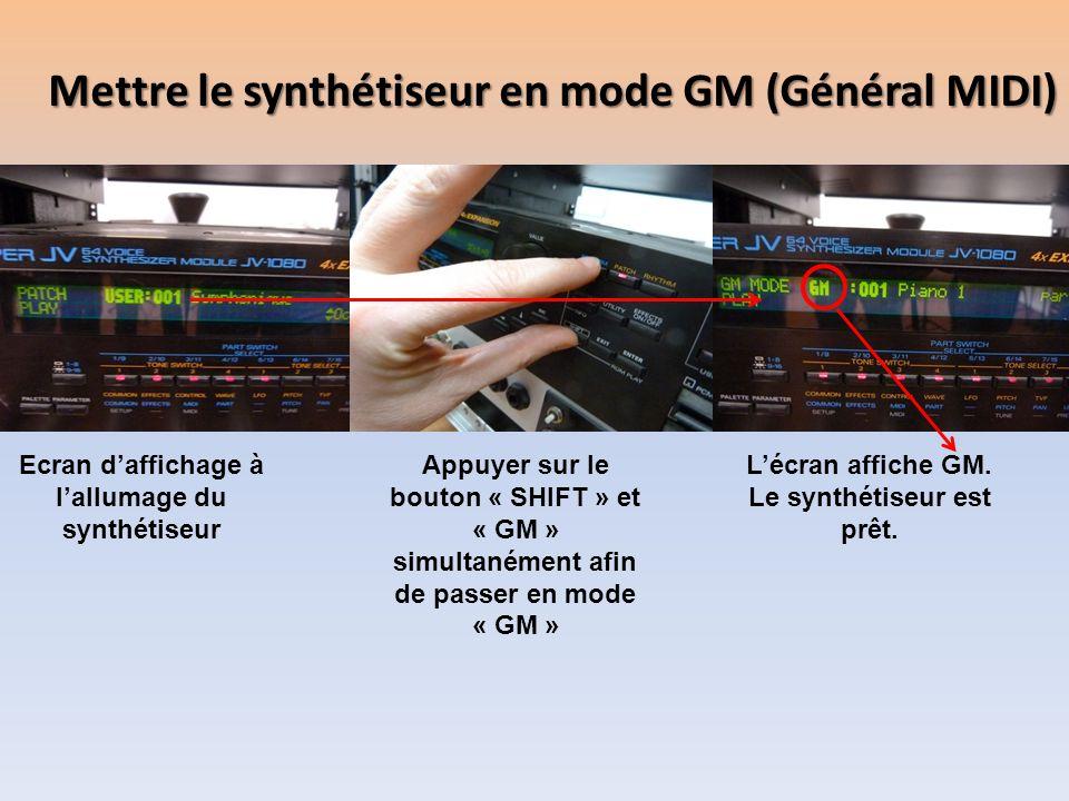 Mettre le synthétiseur en mode GM (Général MIDI)