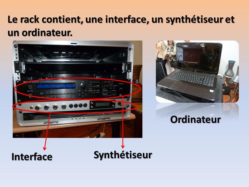 Le rack contient, une interface, un synthétiseur et
