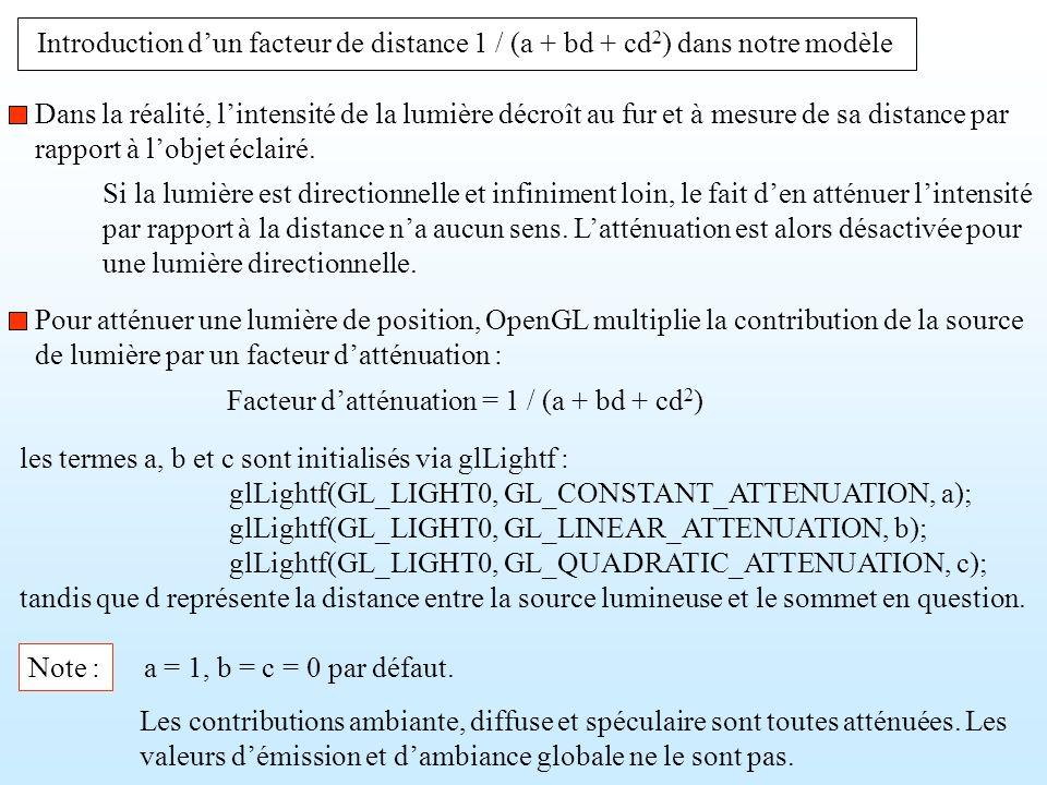 Introduction d'un facteur de distance 1 / (a + bd + cd2) dans notre modèle