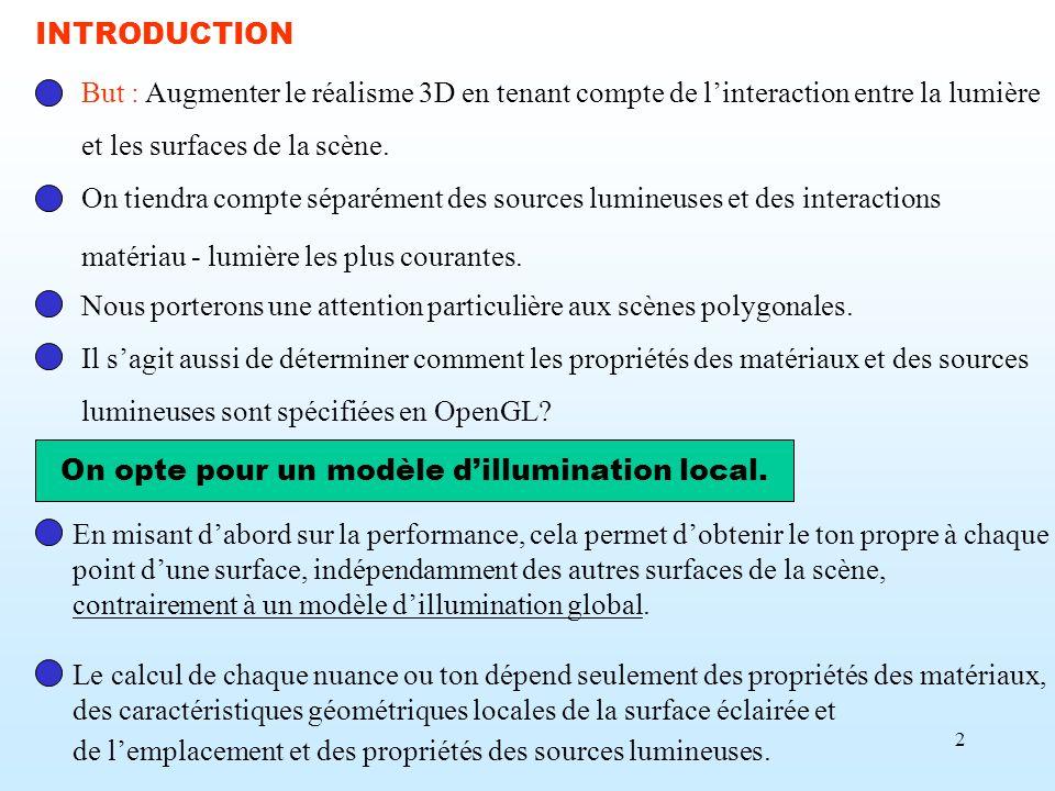 On opte pour un modèle d'illumination local.