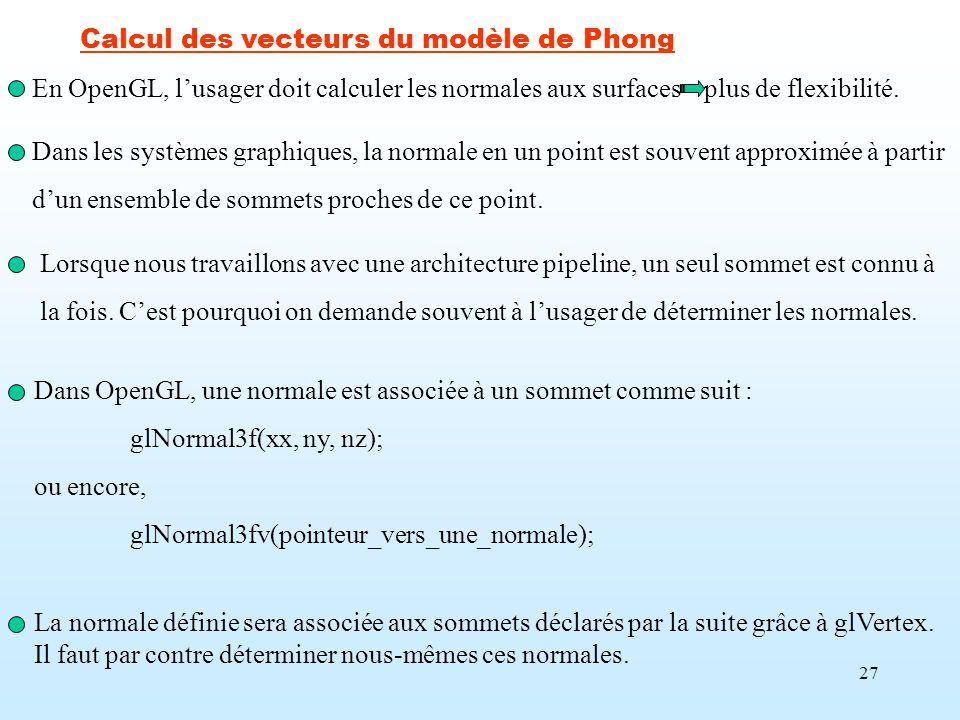 Calcul des vecteurs du modèle de Phong