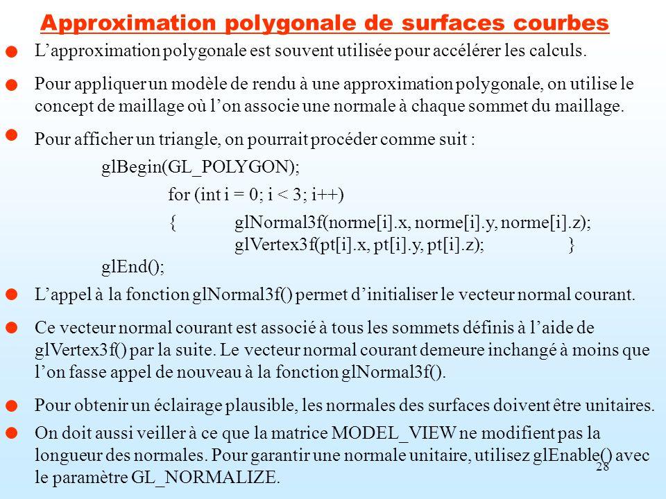 Approximation polygonale de surfaces courbes