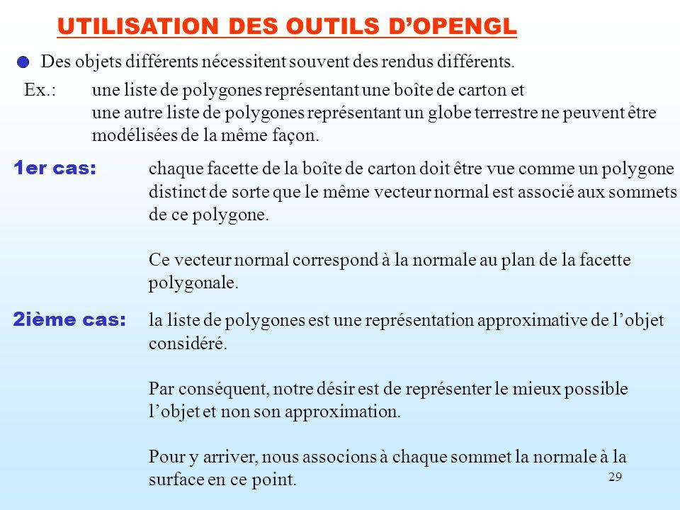 UTILISATION DES OUTILS D'OPENGL