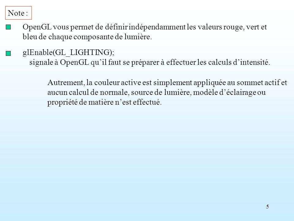 Note : OpenGL vous permet de définir indépendamment les valeurs rouge, vert et. bleu de chaque composante de lumière.