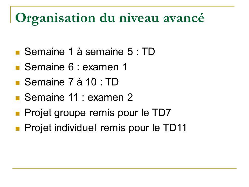 Organisation du niveau avancé