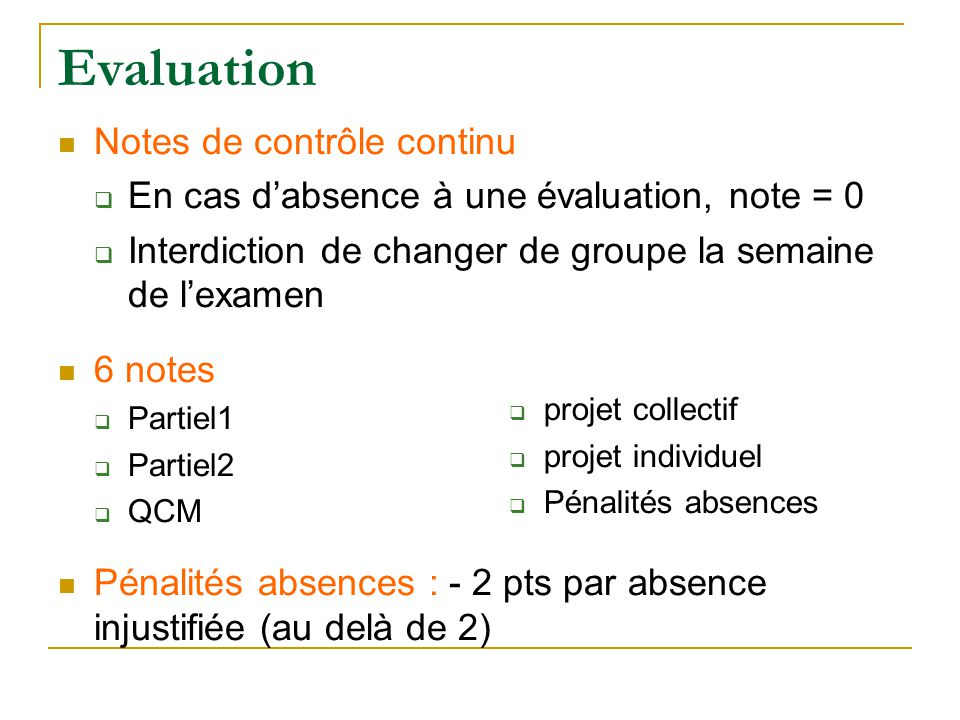 Evaluation Notes de contrôle continu