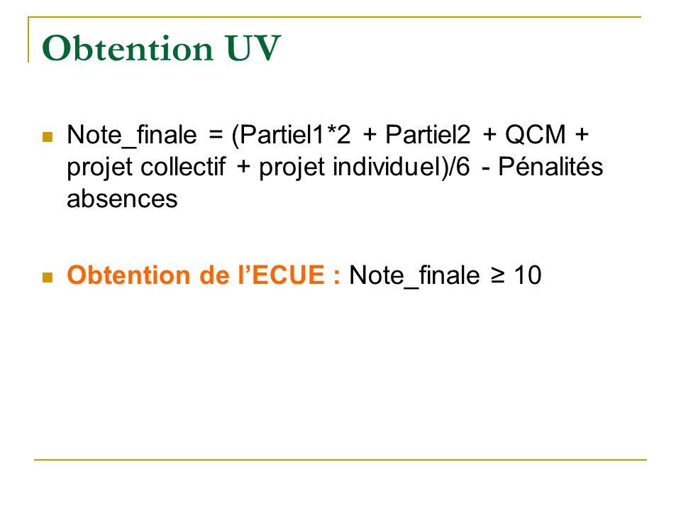 Obtention UV Note_finale = (Partiel1*2 + Partiel2 + QCM + projet collectif + projet individuel)/6 - Pénalités absences.