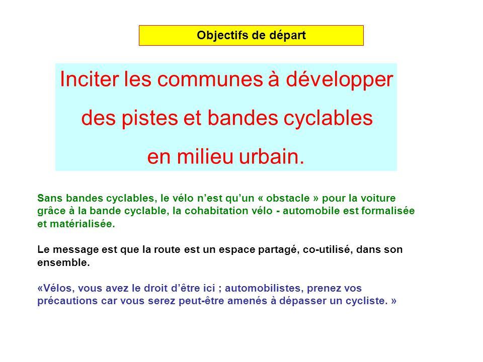 Inciter les communes à développer des pistes et bandes cyclables