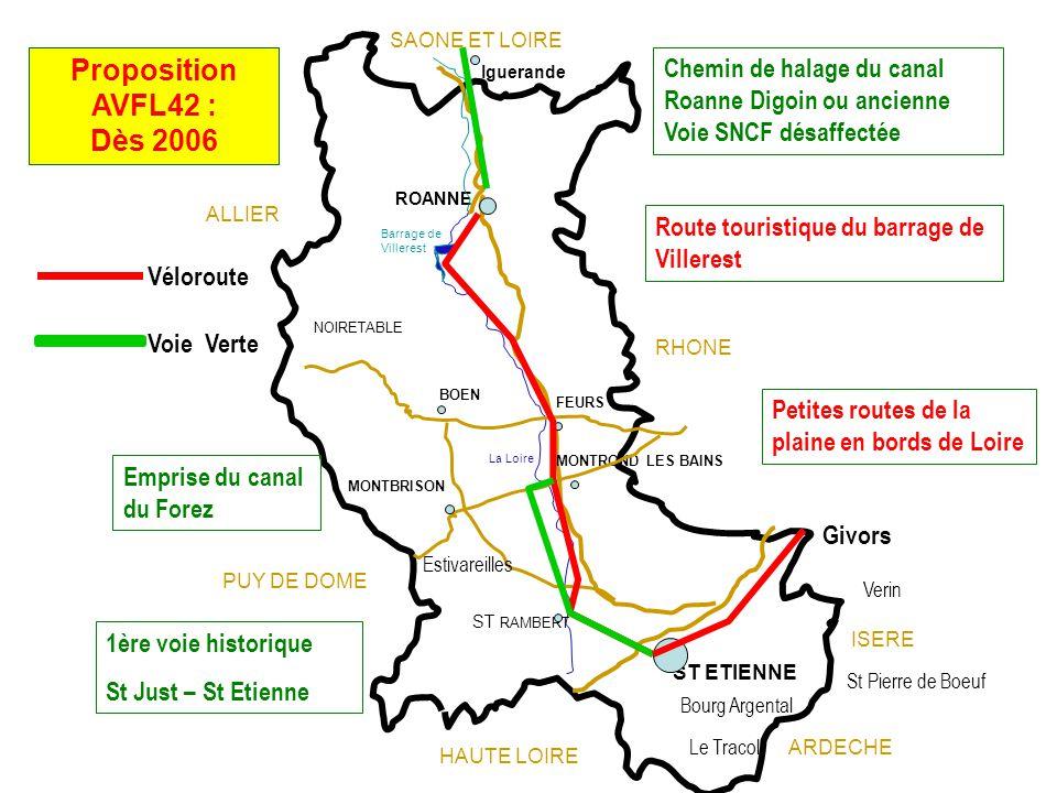 SAONE ET LOIRE Proposition AVFL42 : Dès 2006. Chemin de halage du canal Roanne Digoin ou ancienne Voie SNCF désaffectée.