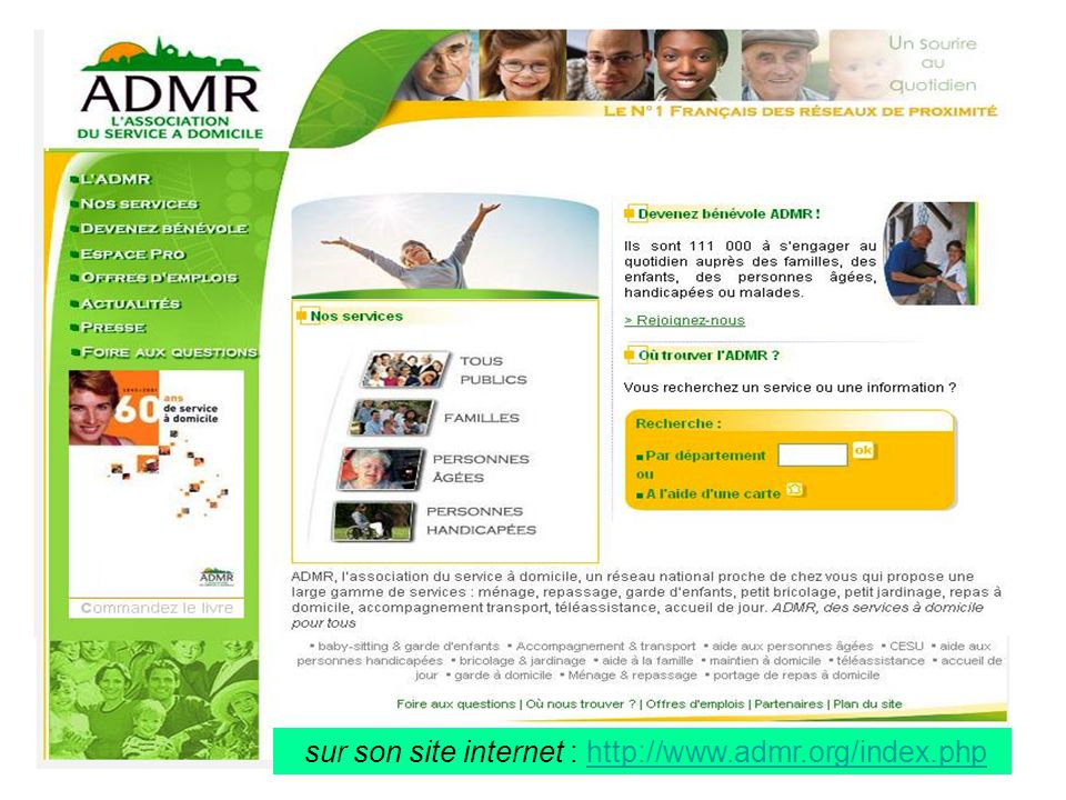 sur son site internet : http://www.admr.org/index.php